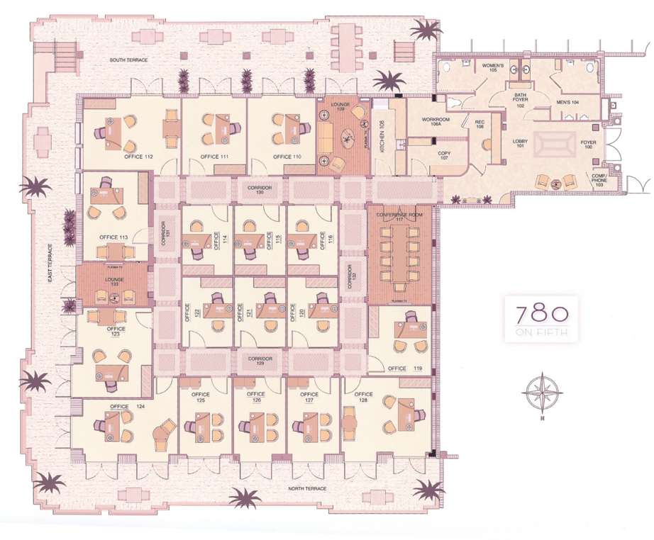 Floor plan illustration of the offices at 780 Fifth Avenue South